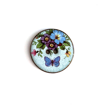 Sky Blue Butterfly Floral Ceramic Button - 1 and 1/16""