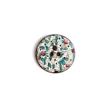 "Italian Lemon Tree Ceramic Button - 1 and 1/16"""