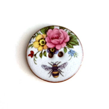 """Bee Floral Ceramic Button - 1 and 1/16"""""""
