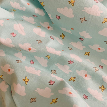 3 Wishes - Playful Cuties III - Birds and Clouds (Flannel)
