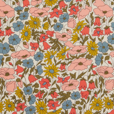 Liberty Poppy & Daisy A (Blush Blue Ochre)