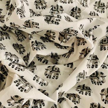 Monochrome Elephant Block Print