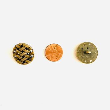 "Antiqued Bronze Basket Weave Button - 23 mm (0.9"")"