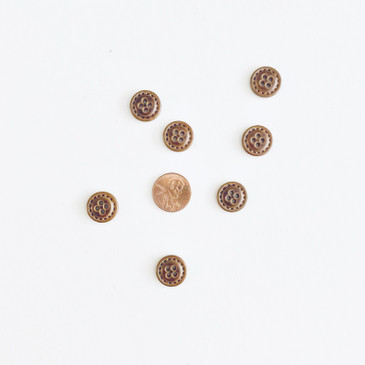 "Faux Leather Stitched Button  - 15mm (~0.6"")"