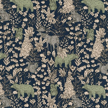 Sevenberry: Forest Creatures (Evening) - Cotton Flax