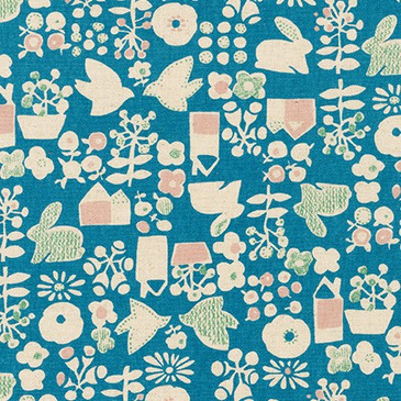 Sevenberry: Dove and Rabbit (Blue) - Cotton Flax