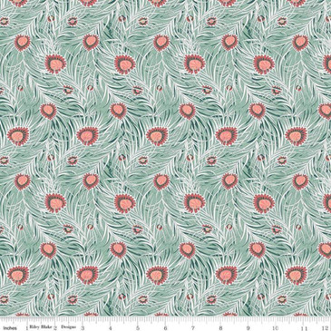 Liberty Quilting: Hesketh House Collection - Pipers Peacock in Light Green