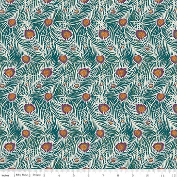 Liberty Quilting: Hesketh House Collection - Pipers Peacock in Dark Green