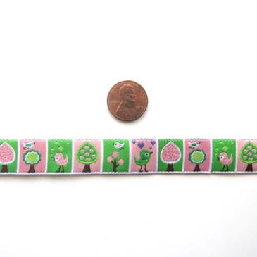 "Pink and Green Birds and Trees 5/8"" Jacquard Ribbon"