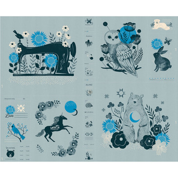 "Ruby Star Society - Crescent by Sarah Watts - 36"" Panel in Soft Blue"