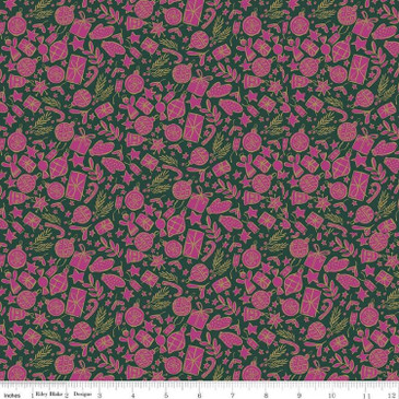 Liberty Quilting: Season's Greetings Collection - Festive Shine (Metallic Gold and Magenta on Green)