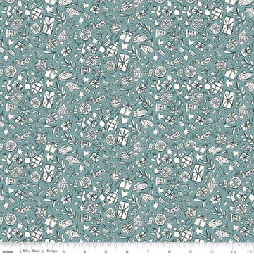 Liberty Quilting: Season's Greetings Collection - Festive Cheer (Light Blue)