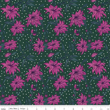 Liberty Quilting: Season's Greetings Collection - Pointsetta (Magenta Green)