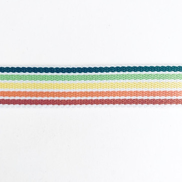 "Five Colour Rainbow Webbing  with White Lines (3.8 cm or 1.5"")"
