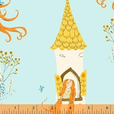 Far Far Away II by Heather Ross - Rapunzel (Aqua)