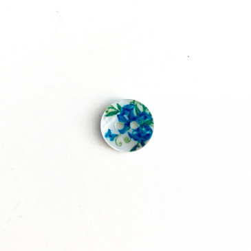 "Blue Butterfly Floral Shell Button - 11.5 mm (0.45"")"