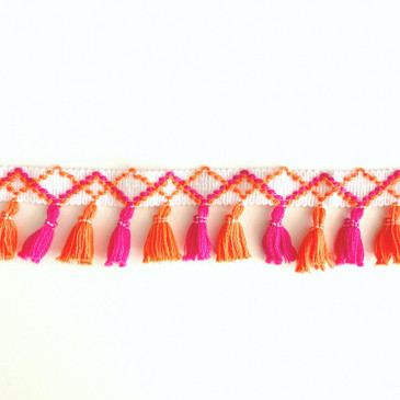 Neon Coral and Pink Tassel - by the yard