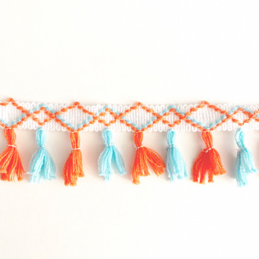 Neon Coral and Light Blue Tassel - by the yard