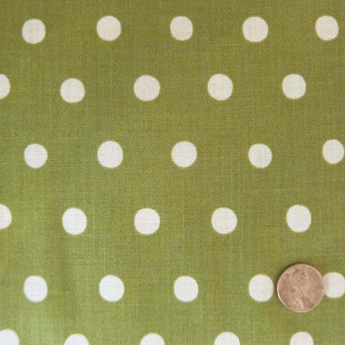 Natural White Dots on Moss Green