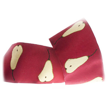 "Laura Foster Nicholson Gold Pears on Claret 1.5"" Jacquard Ribbon"