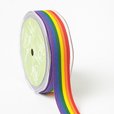 Rainbow Striped Grosgrain Ribbon 7/8""