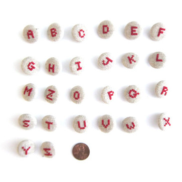 Embroidered Alphabet Buttons