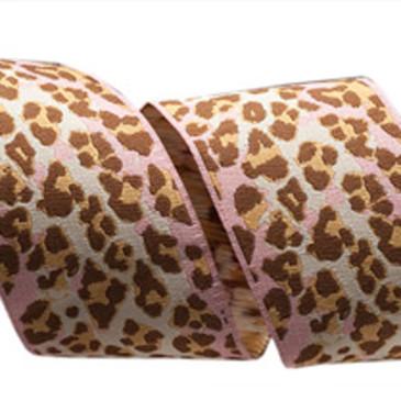 "Anna Maria Horner Pink & Brown Leopard Ribbon - 1.5"""