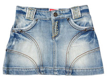 Havoc Denim Girls denim beach mini skirt front (2-7)