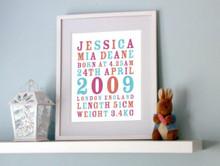 Personalised Birth Print - Girls