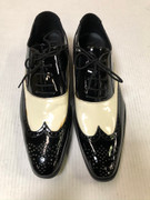 *ULTIMATE* Men's Shiny Black and White Two-Tone Wing Dress Shoes FREE SHIPPING - SZ 8.5