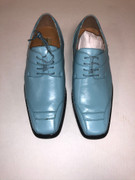*ULTIMATE* Men's Smooth Toe Solid Rare Turquoise Blue Square Toe Dress Shoe FREE SHIPPING - SZ 9.5