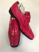 *ULTIMATE* Men's Deep Fuchsia Pink Shiny Pointed Toe Croc Exotic Dress Shoes FREE SHIPPING - SZ 8.5