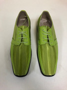 *ULTIMATE* Men's Lime Green Premium Striped Dress Shoe FREE SHIPPING - SZ 13