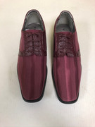 *ULTIMATE* Men's Burgundy Maroon Premium Striped Dress Shoes FREE SHIPPING - SZ 10
