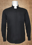 Men's Clergy Shirt Tab Collar Black LS