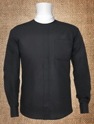 Men's Neckband Long-Sleeve Clergy Shirt Black