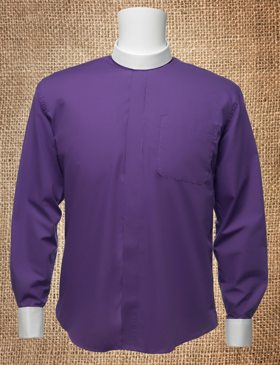 Mens Banded Collar Clergy Shirt Purple