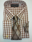 *Platinum Collection* Plaid Style 4 Pc. Fashion Dress Shirt - Brown