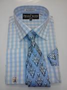 *Platinum Collection* Plaid Style 4 Pc. Fashion Dress Shirt - Blue