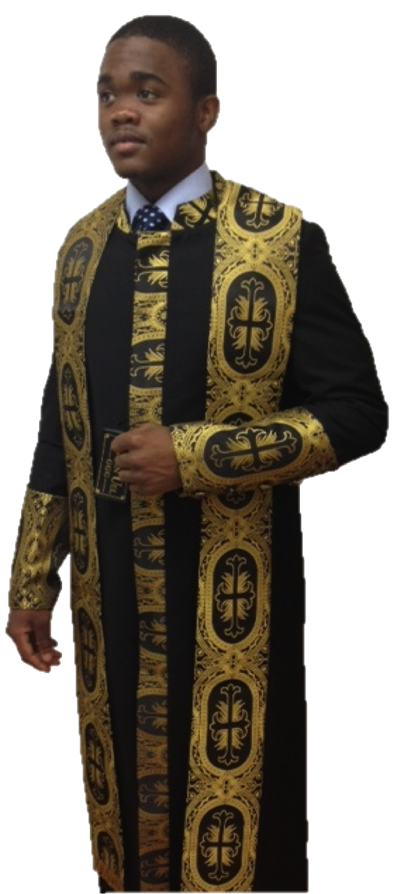 84c5524691 Men s Black Clergy Cassock with Special Gold Church Fabric Brocade