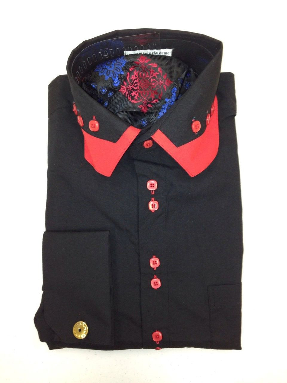 026cb4b3d002 Extreme Deal** Exotic Style 4 Pc. Fashion Dress Shirt - Black/Red ...