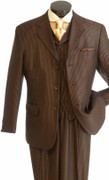 """ULTIMATE"" 54L Xtreme Fashion Pinstripe 3 Pc. Suit Brown"