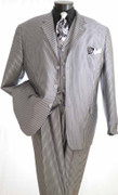 """ULTIMATE"" 42R Xtreme Fashion Pinstripe 3 Pc. Suit Silver"
