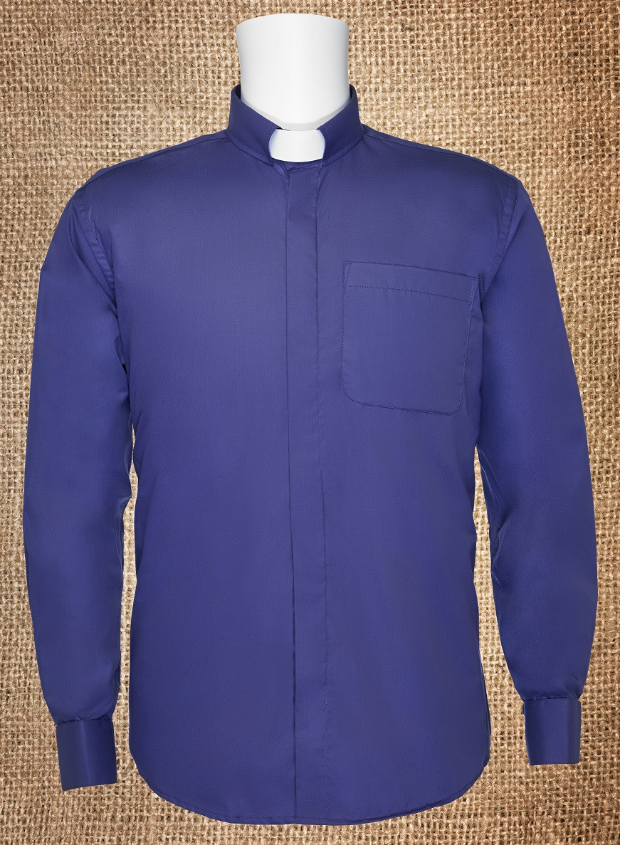 Mens Tab Collar Clergy Shirt Purple