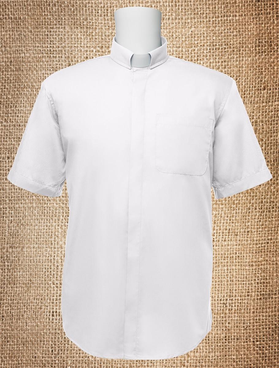 Mens Tab Collar Clergy Shirt White