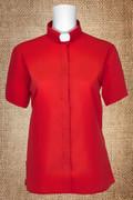 Tab Collar Women's Clergy Shirt Red Short Sleeves