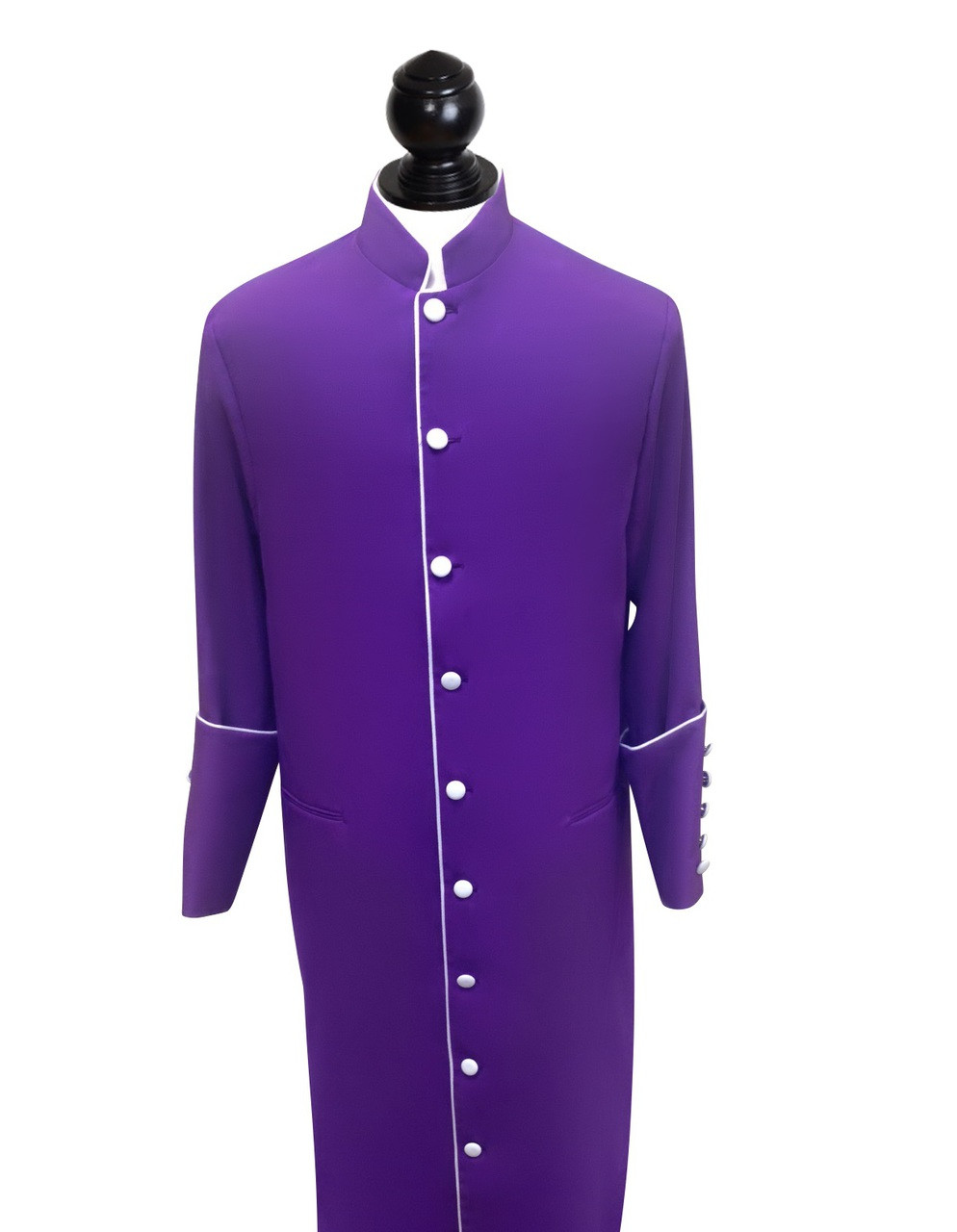 Men S Purple Clergy Robe With White Trim Buttons Accent