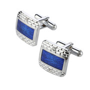 *Royal Blue Diamond and Print Rectangle Cufflinks