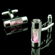 Luxurious Sand Moving Hourglass Cufflinks in Pink