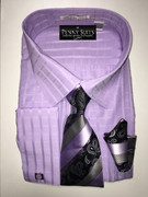 """ULTIMATE"" 4XL 20.5 Windowpane Checks Lilac Fashion 4 pc. Dress Shirt Set"